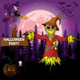 Halloween Party Design template with scarecrow. File in layers and editable stock illustration