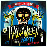 Halloween Party Design template with skull zombie and place for text. Royalty Free Stock Images
