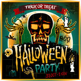 Halloween Party Design template with skull zombie and place for text. Stock Photos
