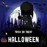 Halloween Party Design template, with witch, dark peaper, pumpkin and lamp.  vector illustration
