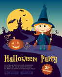 Halloween Party Design template, with witch girl Royalty Free Stock Photos