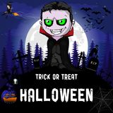 Halloween Party Design template, with witch, vampire,  pumpkin and lamp.  Stock Image