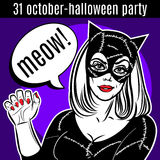 Halloween Party design template. Woman in catsuit, сat lady, su. Perhero royalty free illustration