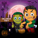 Halloween Party Design template, with zombie, pumpkin and lamp.  royalty free illustration