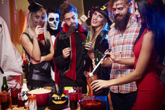 Halloween party. Drinking punch at halloween party Royalty Free Stock Image
