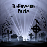 Halloween Party with eery white light on a spooky graveyard Stock Images