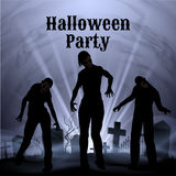 Halloween Party with eery white light on a spooky graveyard Royalty Free Stock Photos