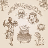 Halloween party engraving hand drawn template vintage vector Royalty Free Stock Photo