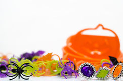 Halloween party favors and cookie cutters stock images