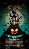 Halloween Party Flyer with creepy colorful elements Royalty Free Stock Photo