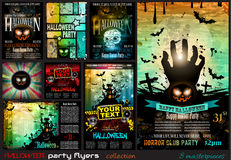 Halloween Party Flyer with creepy colorful elements Stock Photos