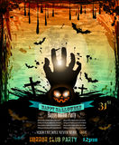 Halloween Party Flyer with creepy colorful elements Stock Image