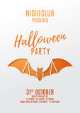 Halloween party flyer design. Paper art style vector illustration. Festive card with bat. Invitation to nightclub Stock Photos