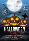 Halloween Party Flyer Design. With pumpkins, house and Full moon illustration Stock Image