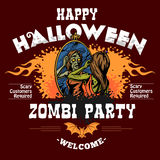 Halloween Party Flyer with Illustration of Female Zombie Girl Stock Photos