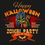 Halloween Party Flyer with Illustration of Female Zombie Girl Royalty Free Stock Photos