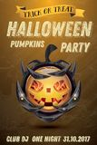 Halloween Party Flyer with Pumpkin with Fire Flames on Armor. Halloween Pumpkin with Fire Flames on Armor. Vector Illustration. Halloween Party Flyer Royalty Free Stock Image