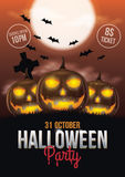 Halloween Party Flyer. With pumpkins and Full moon illustration Royalty Free Stock Image