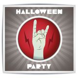 Halloween party flyer rock with hand zombies Royalty Free Stock Photos