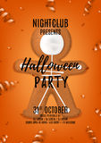 Halloween party flyer with skeleton gingerbread man cookies Stock Photography
