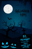Halloween party flyer template - blue and black Royalty Free Stock Photo