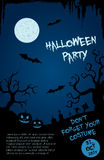 Halloween party flyer template - blue and black Royalty Free Stock Photography