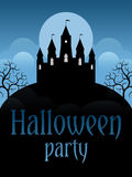 Halloween party flyer. Template. Castle on the moonscape background Royalty Free Stock Photo
