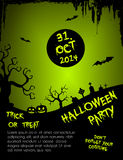 Halloween party flyer template - green and black Royalty Free Stock Image