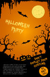 Halloween party flyer template - orange and black Stock Photos