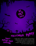 Halloween party flyer template - purple and black Stock Photos
