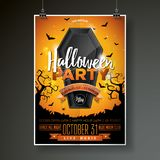 Halloween Party flyer vector illustration with black coffin on orange sky background. Holiday design with spiders and Royalty Free Stock Photography