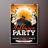 Halloween Party flyer vector illustration with black coffin and zombie hand on orange moon sky background. Holiday Royalty Free Stock Photos