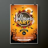 Halloween Party flyer vector illustration with moon on orange sky background. Holiday design with spiders and bats for Royalty Free Stock Photos