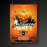 Halloween Party flyer vector illustration with pumpkin and cemetery on orange sky background. Holiday design with Royalty Free Stock Image