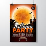 Halloween Party flyer vector illustration with pumpkin and cemetery on orange sky background. Holiday design with moon Stock Photo