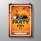Halloween Party flyer vector illustration with pumpkin and cemetery on orange sky background. Holiday design with Stock Image