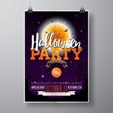 Halloween Party flyer vector illustration with pumpkin and cemetery on purple sky background. Holiday design with moon Royalty Free Stock Photos