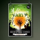 Halloween Party flyer vector illustration with zombie hand on green moon sky background. Holiday design with spiders and Royalty Free Stock Image
