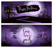 Halloween party flyers with spooky castle Stock Photos