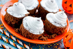 Halloween party food - ghost brownies stock images