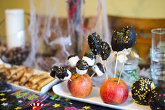 Halloween party food. Marshmallow and chocolate and apples for Halloween party Stock Photo