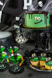 Halloween party. Food table arrangement prepared for Halloween party Royalty Free Stock Photography