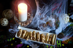 Halloween party food. Witch fingers cookies for Halloween party Stock Photos