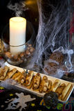 Halloween party food. Witch fingers cookies for Halloween party royalty free stock photography