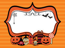Halloween party frame. Orange halloween party frame with decorations on striped background Stock Images