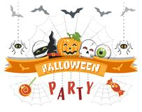 Halloween Party. Greeting card with funny cartoon characters. stock illustration