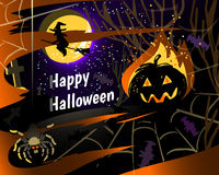 Halloween party greeting card vector illustration. Halloween party greeting card of pumpkin, spider on web, bats and flying witch, vector illustration with a Stock Photos