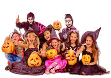 Halloween party with group kid Stock Images
