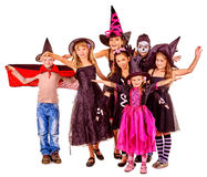 Halloween party with group kid holding carving Stock Images