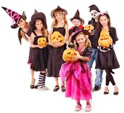 Halloween party with group kid holding  pumkin. Stock Photos